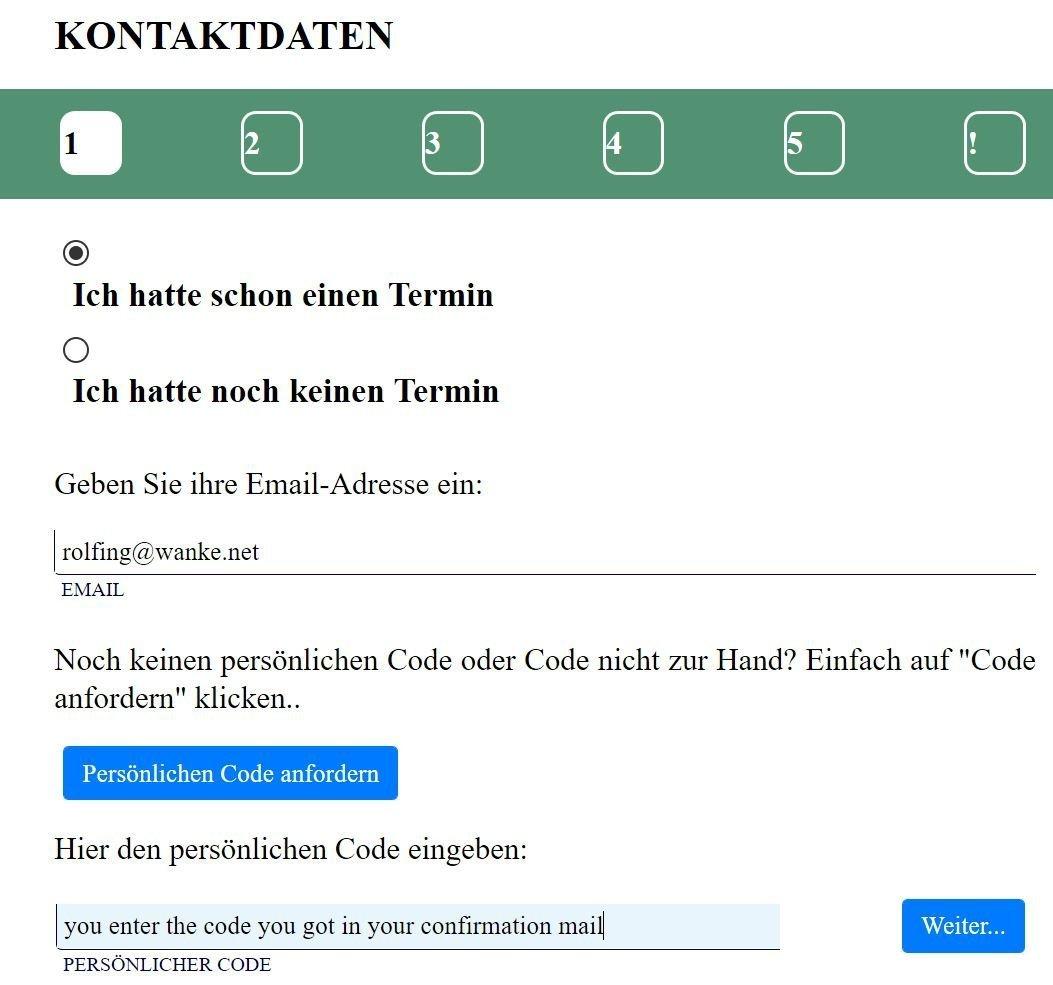Appointment - Kontaktdaten 1 - Rolfing Onlinetermin